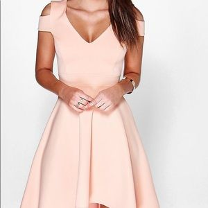 Apricot High Low Skater Dress
